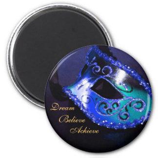 Dream Motivational Masquerade Mask Blue Magnet