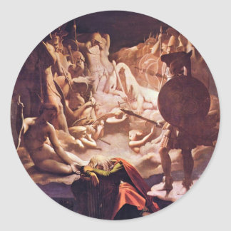 Dream Of Ossian By Ingres Jean Auguste Dominique ( Round Stickers