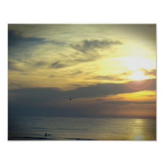 Dream of Sunrise Surfer and Flying Bird Photo Poster