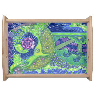 Dream of the full moon surreal art mermaid fantasy serving tray