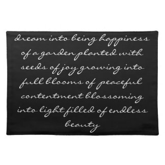 Dream Poem Black with White Words Cloth Placemat