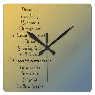 Dream Poem Square Wall Clock