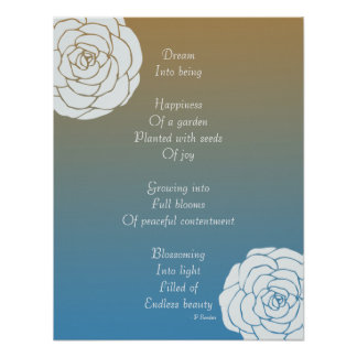 Dream Poem with White Roses Posters