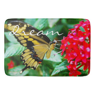 """""""Dream"""" Quote Cute Yellow & Black Butterfly Photo Bathroom Mat"""