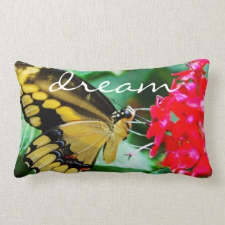 """""""Dream"""" Quote Cute Yellow & Black Butterfly Photo Lumbar Pillow"""