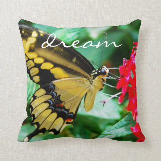 """""""Dream"""" Quote Cute Yellow & Black Butterfly Photo Throw Pillow"""