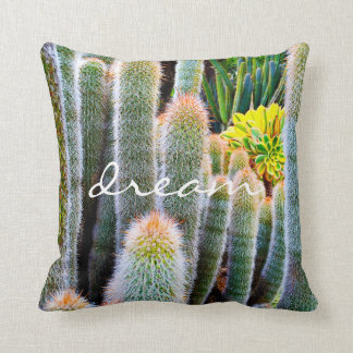 """Dream"" Quote Orange and Green Fuzzy Cacti Photo Throw Pillow"