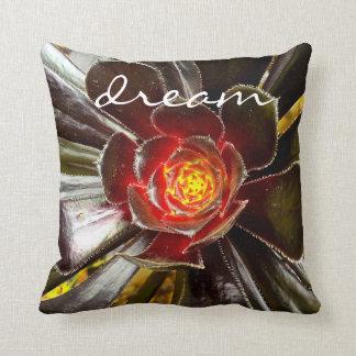 """""""Dream"""" Quote Orange & Black Cactus Close-up Photo Throw Pillow"""