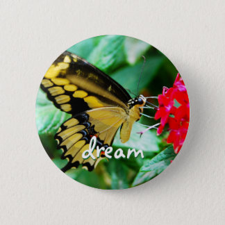 """""""Dream"""" quote yellow and black butterfly photo Pinback Button"""