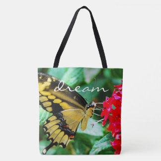 """""""Dream"""" quote yellow and black butterfly photo Tote Bag"""