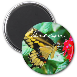 """""""Dream"""" quote yellow black butterfly photo magnet"""