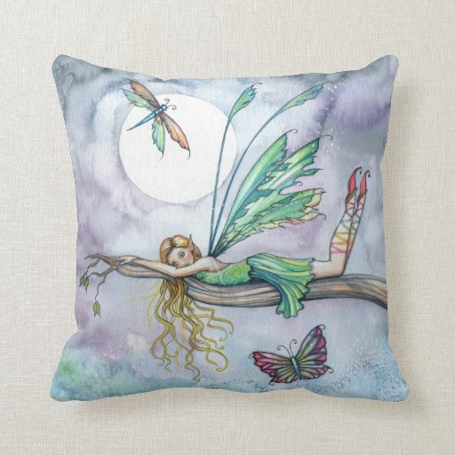 Dream Spot Faerie and Butterfly Throw Pillow Zazzle