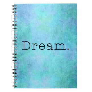 Dream. Teal Blue Aqua Green Seafoam  Purple Dream Journal