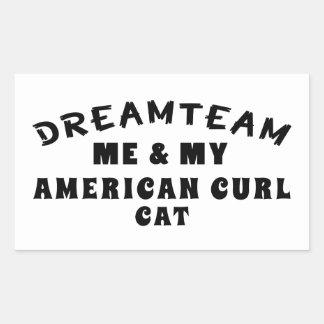 Dream Team Me And My American Curl Cat Rectangular Sticker
