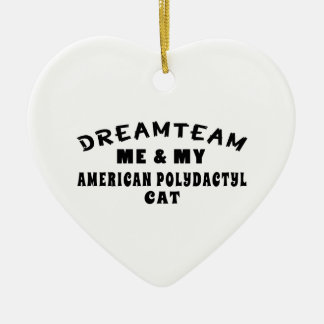 Dream Team Me And My American Polydactyl Cat Double-Sided Heart Ceramic Christmas Ornament