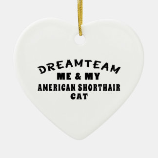 Dream Team Me And My American Shorthair Cat Double-Sided Heart Ceramic Christmas Ornament