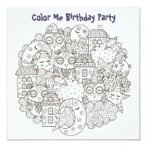 *~* Dream Time Customizable COLOR ME Birthday Invitation