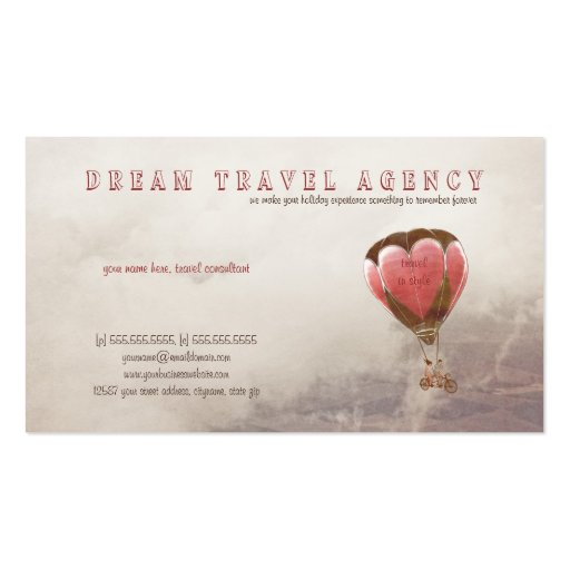 dream travel agency business card zazzle