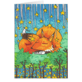 Dream Trees Cartoon Fox + Forest Stars Note Cards