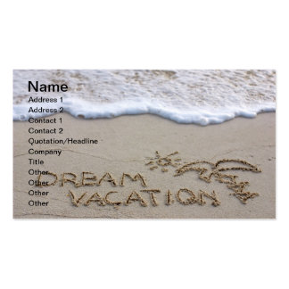 Dream vacation beach sign business card template