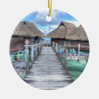 Dream Vacation Bora Bora Overwater Bungalows Ceramic Ornament