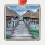 Dream Vacation Bora Bora Overwater Bungalows Square Metal Christmas Ornament