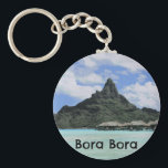 """Dream Vacation Bora Bora Tahiti Atoll Formation Keychain<br><div class=""""desc"""">Check out these Bora Bora themed gifts with a photo of an atoll formation mountain in Tahiti.</div>"""