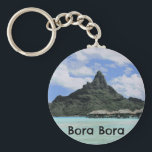 "Dream Vacation Bora Bora Tahiti Atoll Formation Keychain<br><div class=""desc"">Check out these Bora Bora themed gifts with a photo of an atoll formation mountain in Tahiti.</div>"