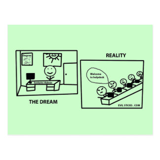 Dream vs Reality - Working in IT Postcards