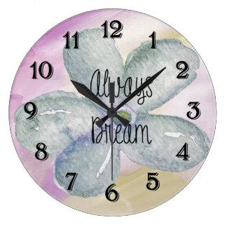 Dream Watercolor Flower Large Clock