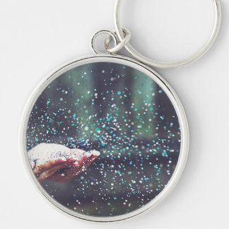Dream Whimsical Party Sparkle Blowing Glitter Art Keychain