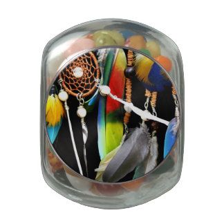 Dreamcatcher and Feathers Glass Jars