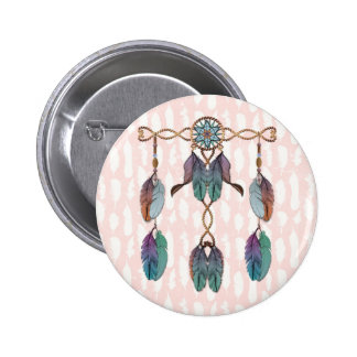 Dreamcatcher and Feathers Pinback Button