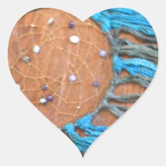 Dreamcatcher azul y verde pegatina en forma de corazón