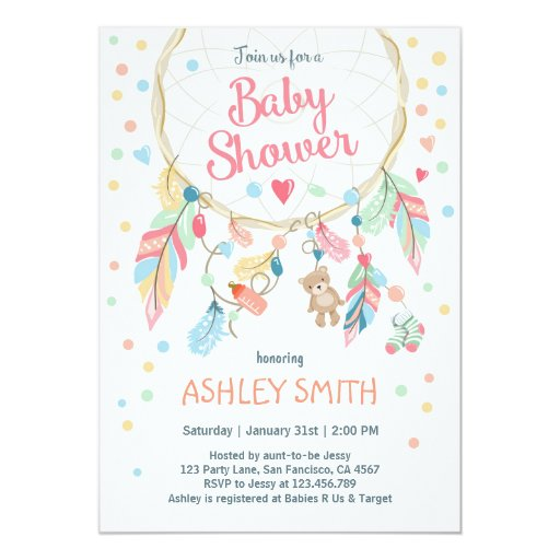 Dreamcatcher Baby Shower Invitation Tribal Boho