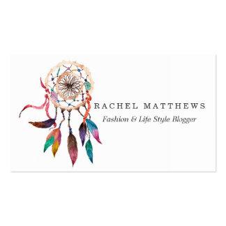 Dreamcatcher bohemio en pintura vibrante de la tarjetas de visita