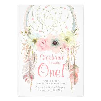 Dreamcatcher boho pink pastel Birthday invitation