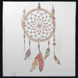 "Dreamcatcher Cloth Napkin<br><div class=""desc"">Hand drawn native american dream catcher,  beads and feathers</div>"