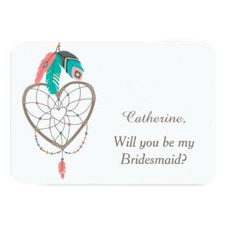 Dreamcatcher Feather Wedding Bridesmaid Card
