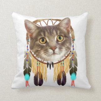 Dreamcatcher kitty throw pillow