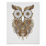 dreamcatcher owl, tribal dream catcher poster