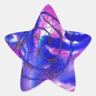 Dreamcatcher púrpura pegatina en forma de estrella