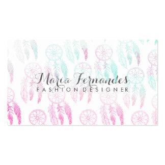 Dreamcatcher rosado elegante de la acuarela del tarjetas de visita