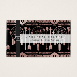 Dreamcatcher Rose Gold Tribal Aztec on Black Business Card