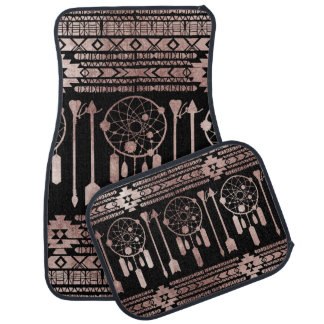 Dreamcatcher Rose Gold Tribal Aztec on Black Car Floor Mat