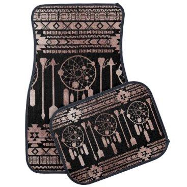Aztec Themed Dreamcatcher Rose Gold Tribal Aztec on Black Car Floor Mat