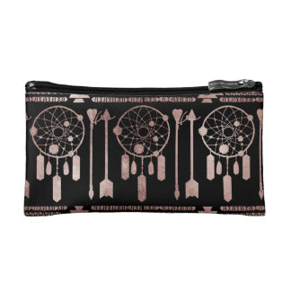 Dreamcatcher Rose Gold Tribal Aztec on Black Makeup Bag