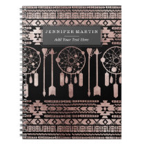 Dreamcatcher Rose Gold Tribal Aztec on Black Notebook