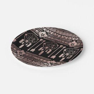 Dreamcatcher Rose Gold Tribal Aztec on Black Paper Plate