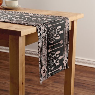 Aztec Themed Dreamcatcher Rose Gold Tribal Aztec on Black Short Table Runner